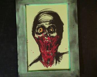 Dark artwork, zombie art, zombie painting, horror fan gift, undead, horror art, gory halloween, drawlloween, zombie party, zombie sticker
