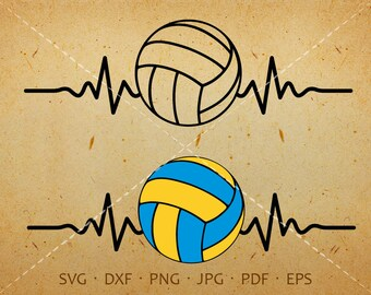 Heartbeat Volleyball SVG, Volleyball Clipart Silhouette Cricut Cut Files  (svg, dxf, eps, png, jpg, pdf)