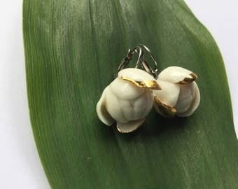 Handcrafted Porcelain and Gold Earrings, Leverback Hook, Uniqe, Ideal Gift