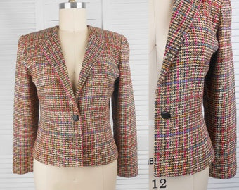 VINTAGE 80s Lucia Darling Pure Silk Tweed Womens Jacket Made in Australia