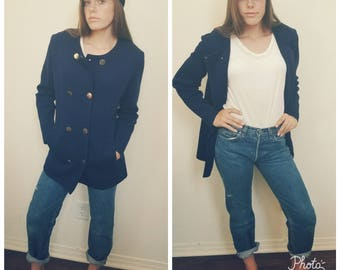 60's Mod Jacket Navy Wool Blazer Double Breasted Jacket. M L