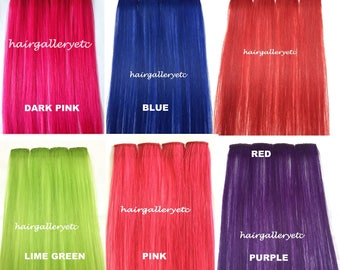"14"" Multi Color Clip-in 100% Human Hair Extensions 4pcs for highligts streaks USA"