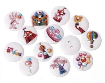 20 buttons creating wooden games child 2 holes Scrapbooking pattern