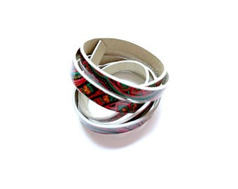 1 M - leather cord artificial 10.0 mm multicolor flowers