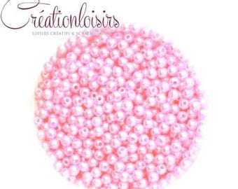 Pink acrylic set of 100 small mother of Pearl round beads 4 mm