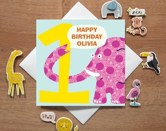 Personalised 1st Birthday Card For Boys/Girls - Zoo Cards - Age Cards - Cards For Kids - Cards For Children - Cards For Babies