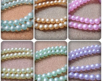 8mm Pastel beads, Pastel glass beads, Glass beads, 8mm, Round beads, Pastel beads, Beads, Pastels, Jewellery making, Crafts, Pastel colours