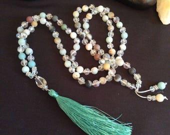 108 8mm mala necklace, mala, gemstone mala, yoga beads, yoga necklace, boho necklace,  long necklace , tassel necklace, meditation beads