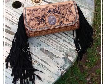 Western purse , purse, leather purse , tooled leather purse , leather clutch , fringe purse ,leather  fringe clutch, western clutch ,clutch