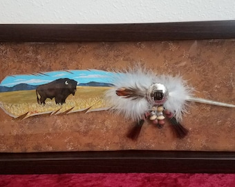Wesatern Feathers:Real feathers hand painted-Buffalo