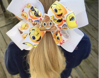 Emoji Bow, emoji hair clip, poop emoji bow, girl bows, hair bows, pinwheel bow, emoji, funny emoji, toddler bow, baby bow, bows for girls