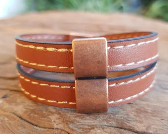 Leather bracelet; Men's bracelet; Unisex bracelet; Wrap bracelet; Men's leather bracelet; Leather wrap bracelet; Copper bracelet;