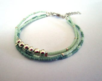 Mint - miyuki beads - and metal beads MULTISTRAND bracelet