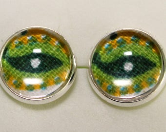 Textile Earrings, Fabric Earrings, Cotton Earrings Glass Tile Earrings, Ethnic earrings, Cotton, Earrings under 20, Textile jewelry