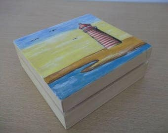 Small Lighthouse Hand Painted Wooden Box