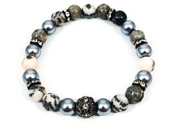 Pink Jasper Pearl~ Handmade Stretch Bracelet~ Genuine Pink Zebra Jasper & Glass Pearls~ Pave Rhinestone Spacers~Pave Statement Bead