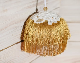 Art deco Xmas ornament Christmas ball decorated with golden fringe Christmas day gift Chic home decor Gatsby wedding party decorations