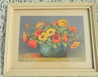 Vintage Orange and Yellow R.A. Foster Floral Print,  Cottage Orange Yellow Flower Print, Rustic Yellow and Orange  Flower Picture,  Cheery