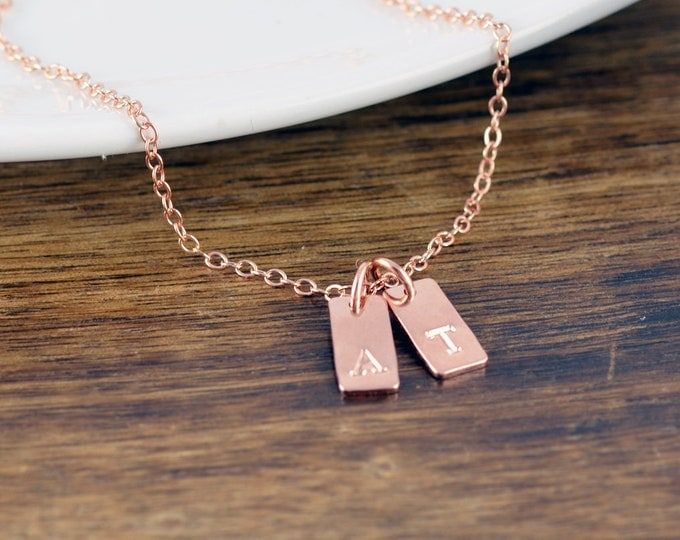 Rose Gold Tag Necklace - Initial Charm Necklace - Personalized Tag Necklace - Hand Stamped Jewelry - Personalized Hand Stamped Necklace