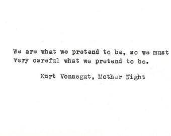 Kurt Vonnegut hand typed vintage typewriter quote