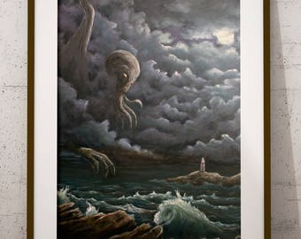 Cthulhu - Fine Art Giclee Print, HP Lovecraft, Astral Entity, Ocean, Storm, Lighthouse, Waves