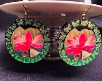 Emerald Green and Pink Filigree Dangle Earrings; Drop Earrings, Filigree Earrings, Green and Pink Dangle Earrings, Statement Earrings
