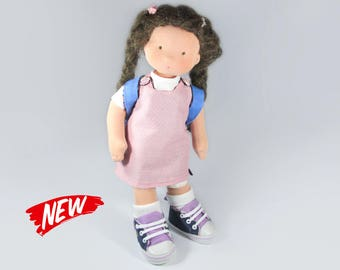 Waldorf Doll School girl 17""