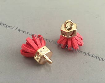 20pieces red suede leather KC gold caps ear tassel --for length 30mmx20mm(#0184)