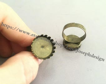 50 Pieces /Lot Antique Bronze plated 15mm round cabochon ring blanks bezel trays (#0232)