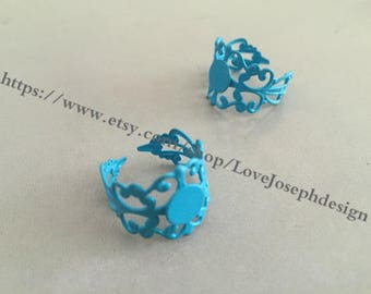10 Pieces /Lot 8mm Blue adjustable filigree pad bezel ring blanks(#0359)