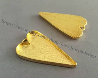 10 Pieces /Lot Antique Gold  Plated 53mmx29mm cabochon love heart bezel trays charms (#0312)