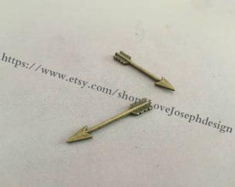 wholesale 50 Pieces /Lot Antique Bronze Plated 30mm arrow connector charms(#0256)