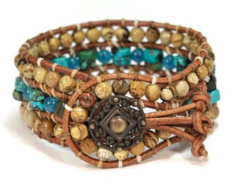 Blue Lagoon Africa * Jasper & Moonstone. 3 strand Wrap Bracelet. Boho Style. Bohemian Jewelry. Semiprecious stones. Gift for her.