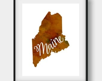 Maine Print, Maine Art, Maine State, US State Print, Office Art, Travel Print, Maine Decor, Home Wall Art, Maine Poster