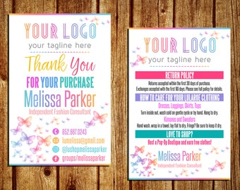 Care And Thank You Card - Home Office Approved - Business Card - Care Instructions - Return Policy - Personalized - YOU PRINT - 4x6 and 5x7