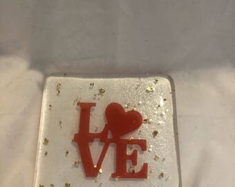 Fused glass love coaster
