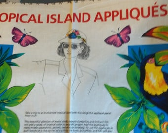 Tropical Island Appliques Fabric Panel