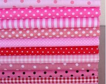 12 coupons fabric patchwork/seam 40 x 50 cm shades pink bright 210315