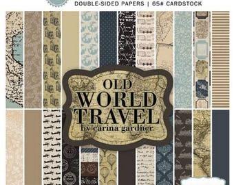 24 papers 15.2 x 15.2 cm cardmaking, scrapbooking CARINA GARDNER OLD WORLD TRAVEL
