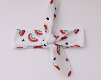 knotted headband - hoofdband - haarband - haar accessoire - haarband met strik - baby headband - headband with rainbows - topknot headband