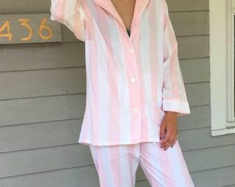 Vintage 90s Blush Pink & White Striped Cotton 2 Piece Lounge Set / Pajama Set | S/M/L