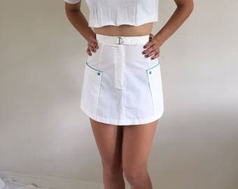 Vintage 80s White Tennis Skirt w/ Pockets & Belt | 25W 0/2