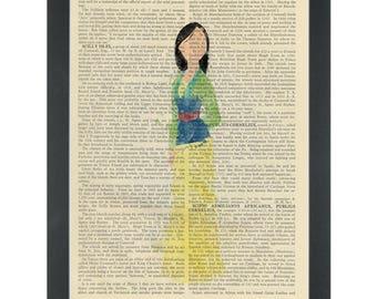 Princess Mulan watercolor girls bedroom Dictionary Art Print