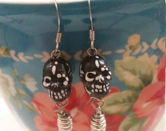 Black sugar skull earrings