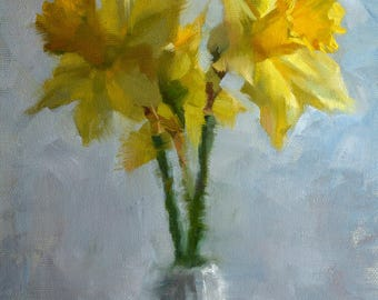 Daffodils - original oil painting, alla prima oil painting, one of a kind