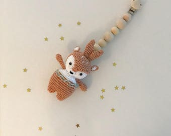 Crochet Deer Baby Stroller Hanging Toy - Carseat Baby Toy - Baby String Toy - Pram String Baby Toy - Baby gift - crochet baby toy rattle