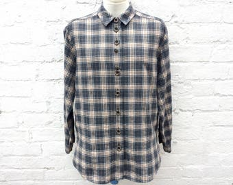 Women's flannel shirt, vintage plaid, 90's fashion, grunge style