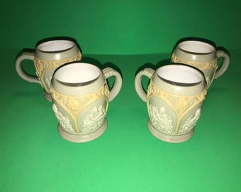 Set of 4 Antique Villeroy and Boch Mettlach Phanolith Designed Mug Steins 1266