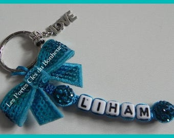 key 1 turquoise name with bow