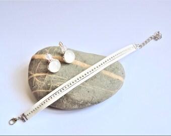 ღ ღ suede set earings earrings and bracelet set Anemone ღ